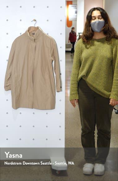 Stand Collar Hidden Hood Organic Cotton Blend Coat, sales video thumbnail