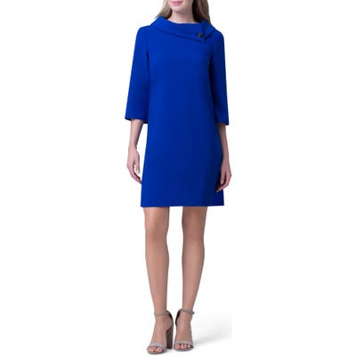Tahari Envelope Collar Crepe Shift Dress, Blue