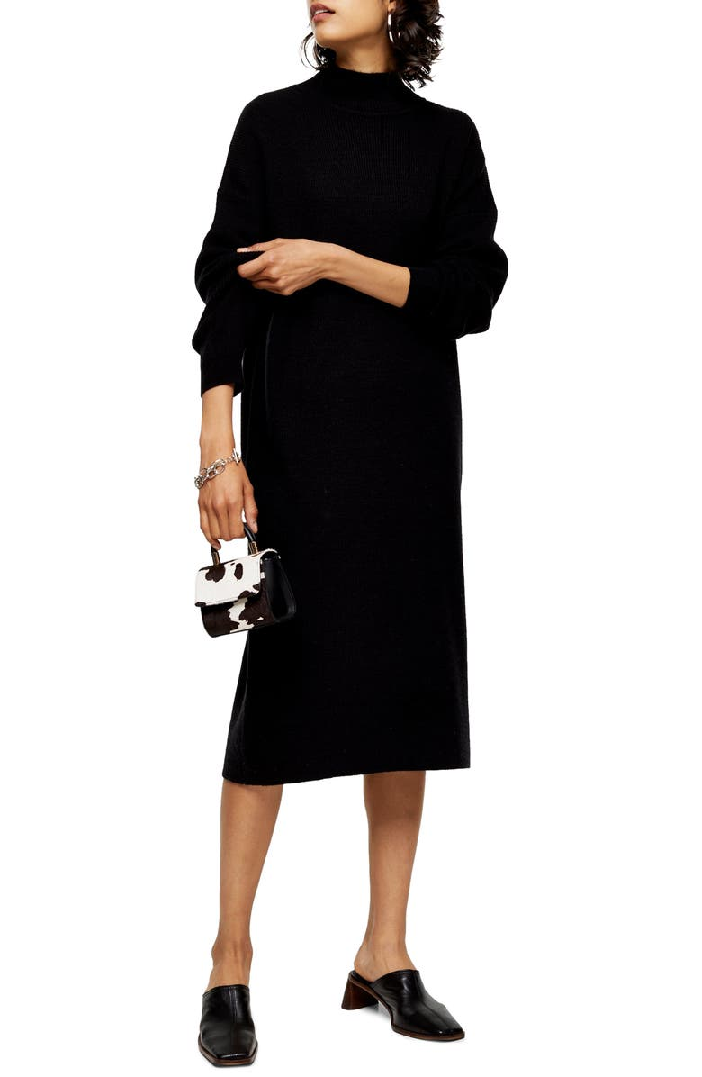 TOPSHOP Ribbed Long Sleeve Funnel Neck Midi Sweater Dress, Main, color, BLACK