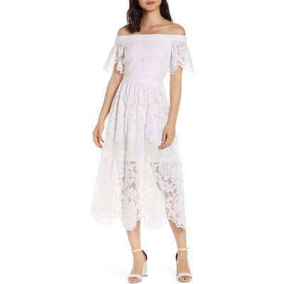 Vince Camuto Lace Off The Shoulder Midi Dress, Ivory