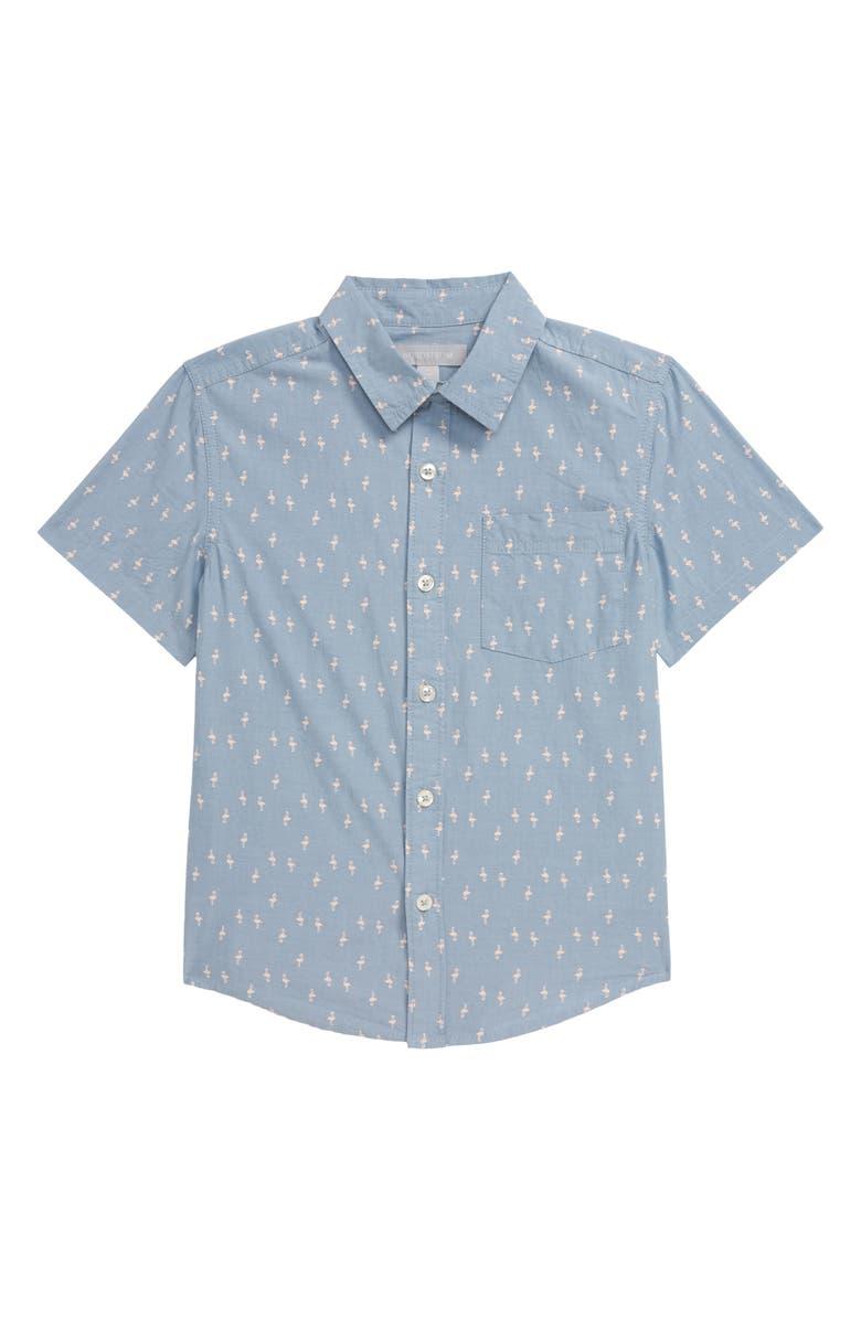 NORDSTROM Print Short Sleeve Button-Up Shirt, Main, color, BLUE CHAMBRAY FLAMINGOS