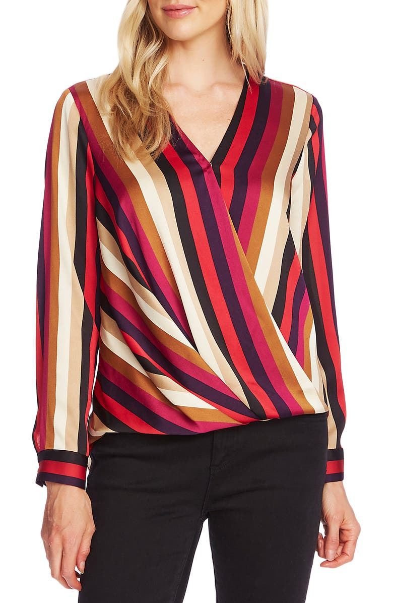 VINCE CAMUTO Mayfair Stripe Faux Wrap Top, Main, color, TULIP RED