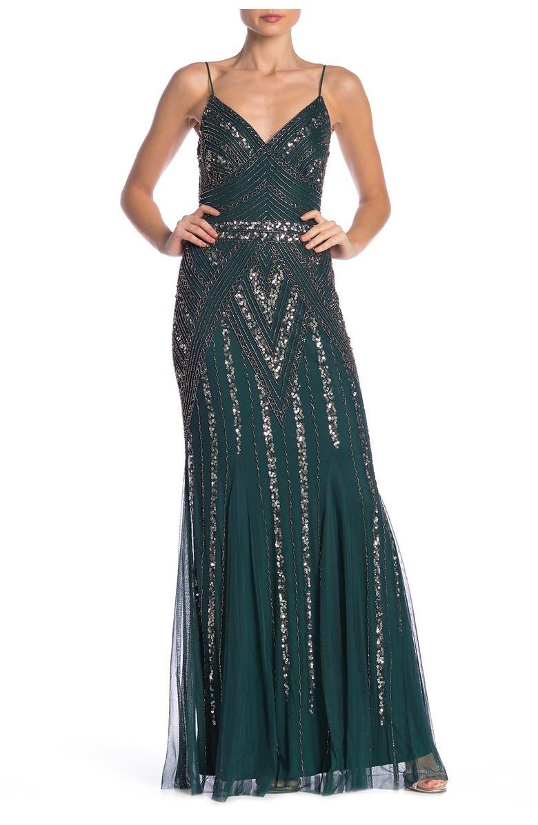 MARINA Embellished V-Neck Gown, Main, color, HUNTER