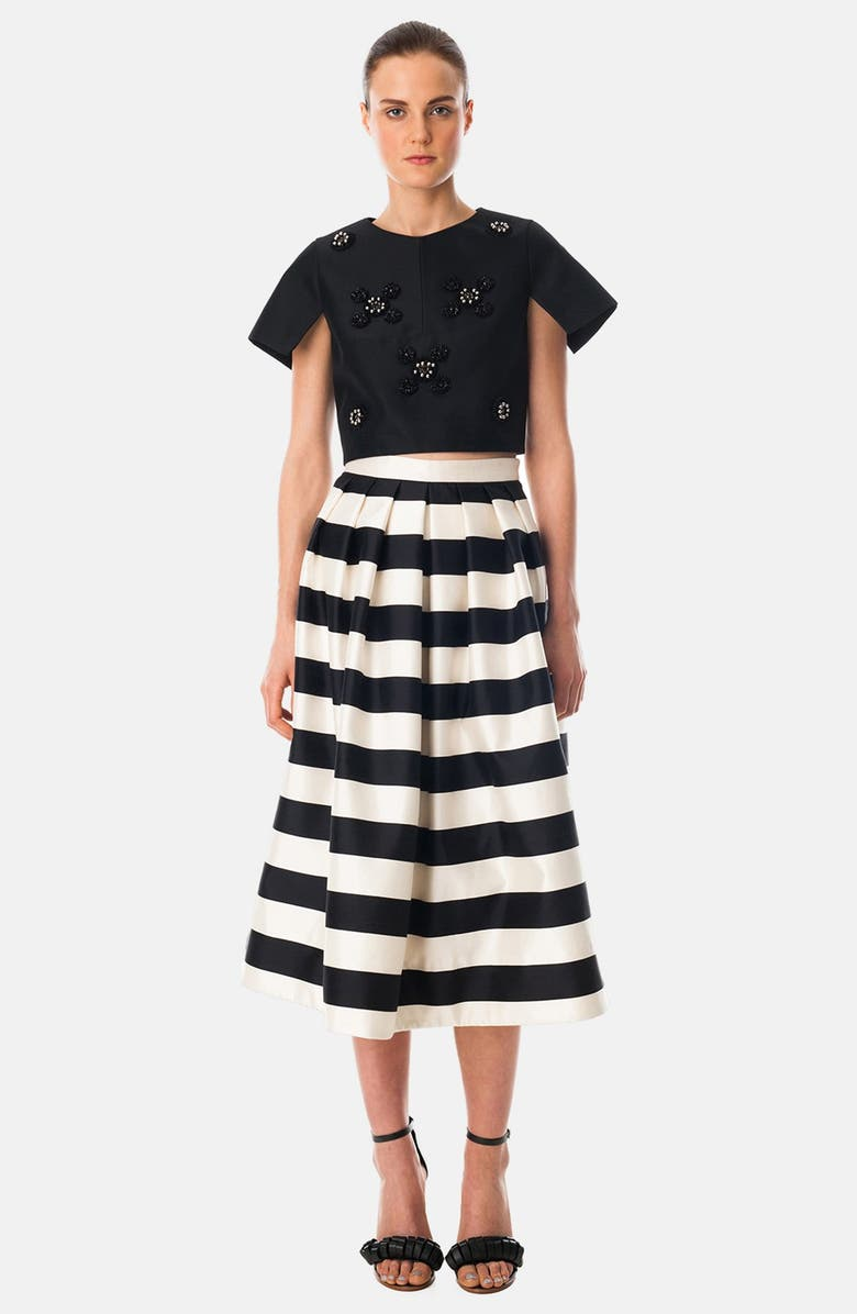 TIBI 'Escalante' Stripe Print Pleated Silk Midi Skirt, Main, color, 004