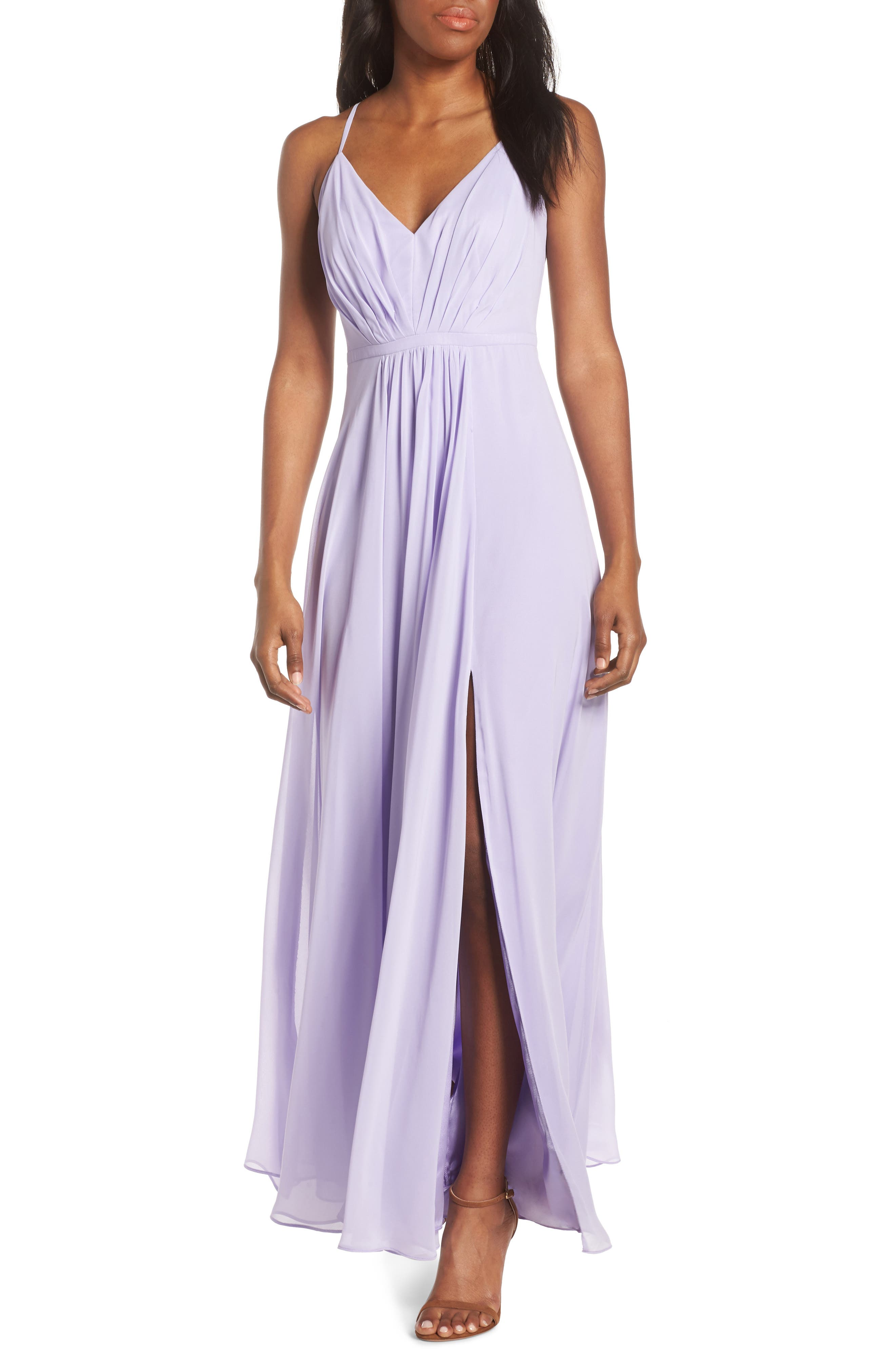 Eliza J V-Neck Pleated Chiffon Gown, Purple