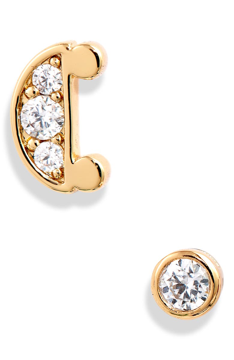 KATE SPADE NEW YORK initial mismatched stud earrings, Main, color, C-GOLD