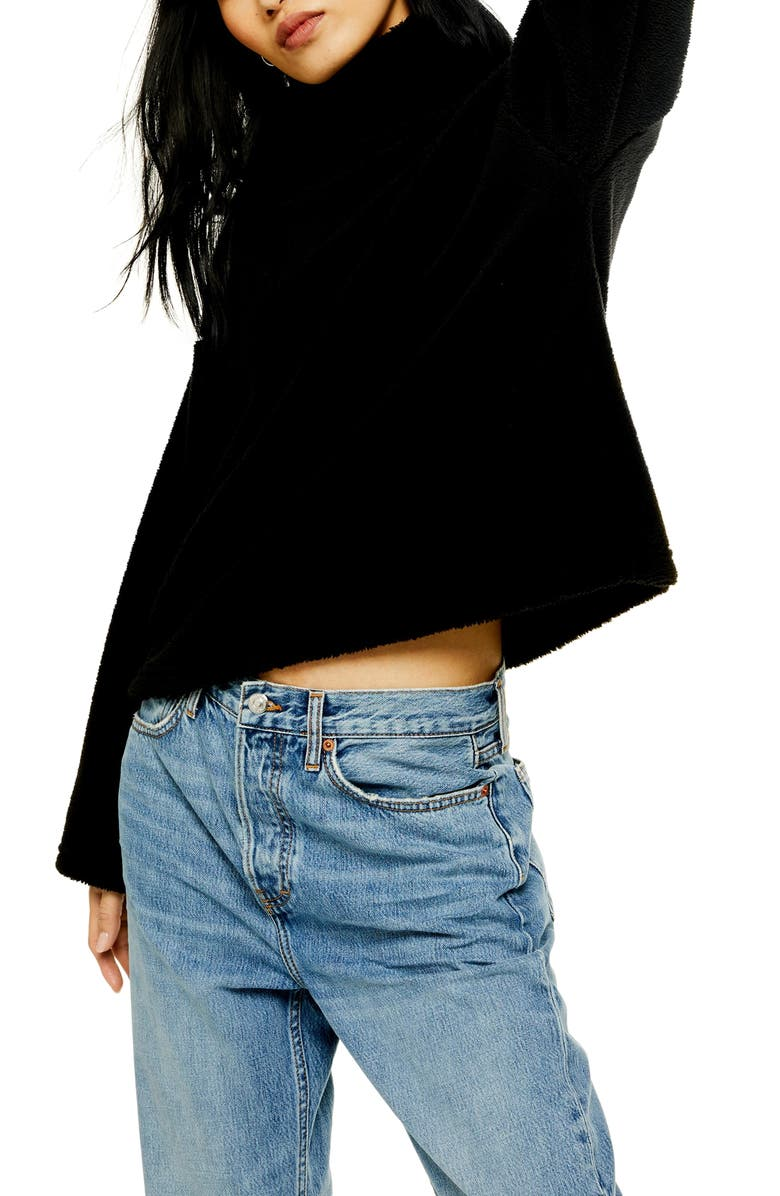 TOPSHOP Teddy Fleece Funnel Neck Top, Main, color, BLACK