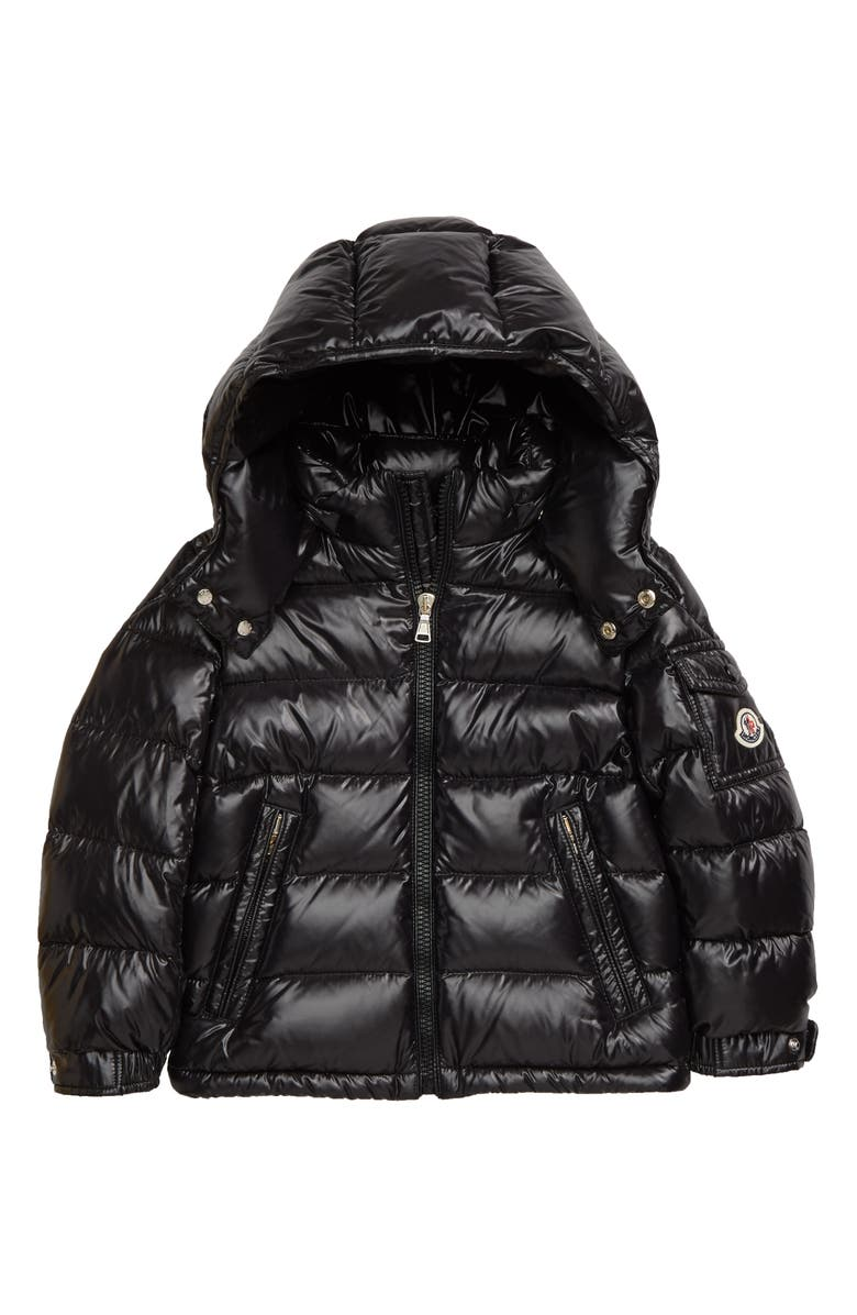 MONCLER Maya Water Resistant Down Hooded Puffer Jacket, Main, color, BLACK
