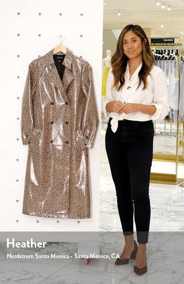 Leopard Print Water Resistant Coated Trench Coat, sales video thumbnail