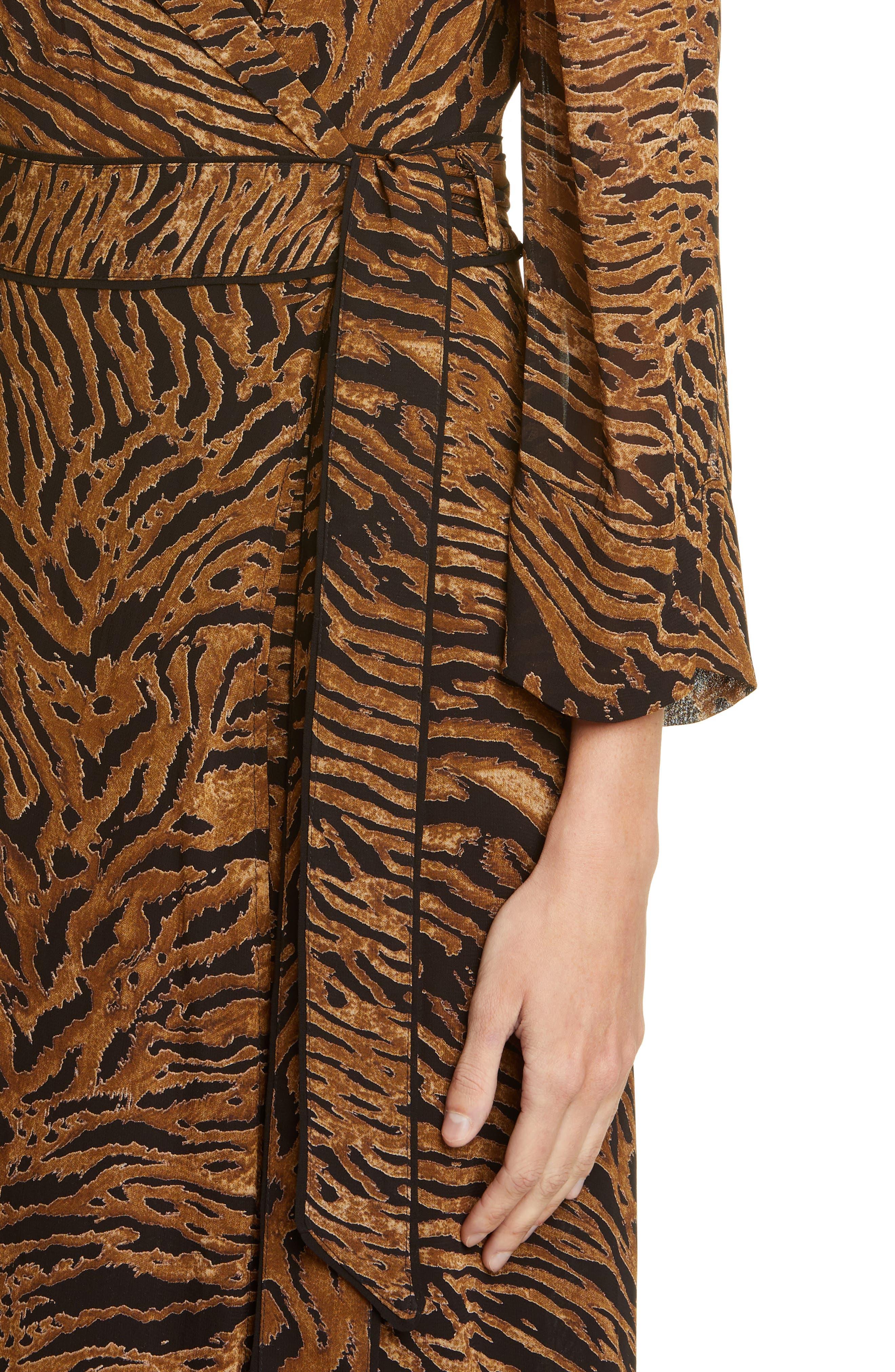 Ganni Dresses Tiger Print Georgette Midi Wrap Dress