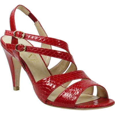 J. Renee Carro Snake Embossed Strappy Sandal B - Red