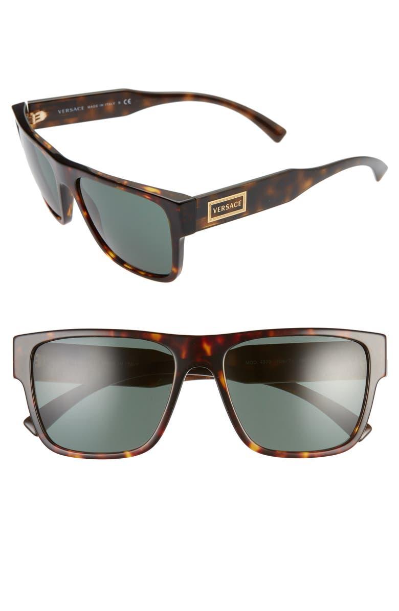 VERSACE 56mm Flat Top Sunglasses, Main, color, HAVANA/ GREEN SOLID