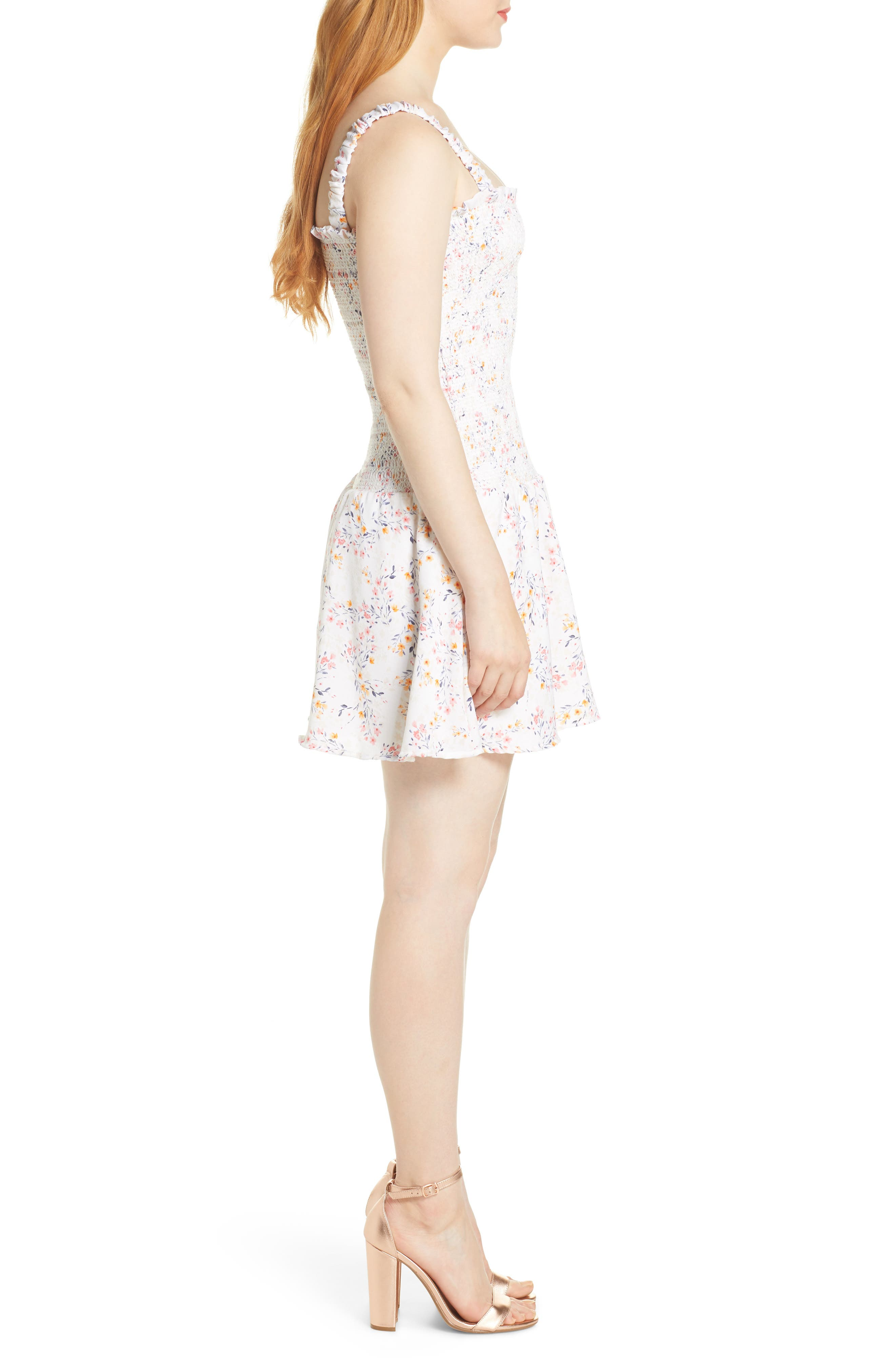 ,                             x Dress Up Buttercup Eastside Luv Floral Minidress,                             Alternate thumbnail 4, color,                             FIELD FLOWERS