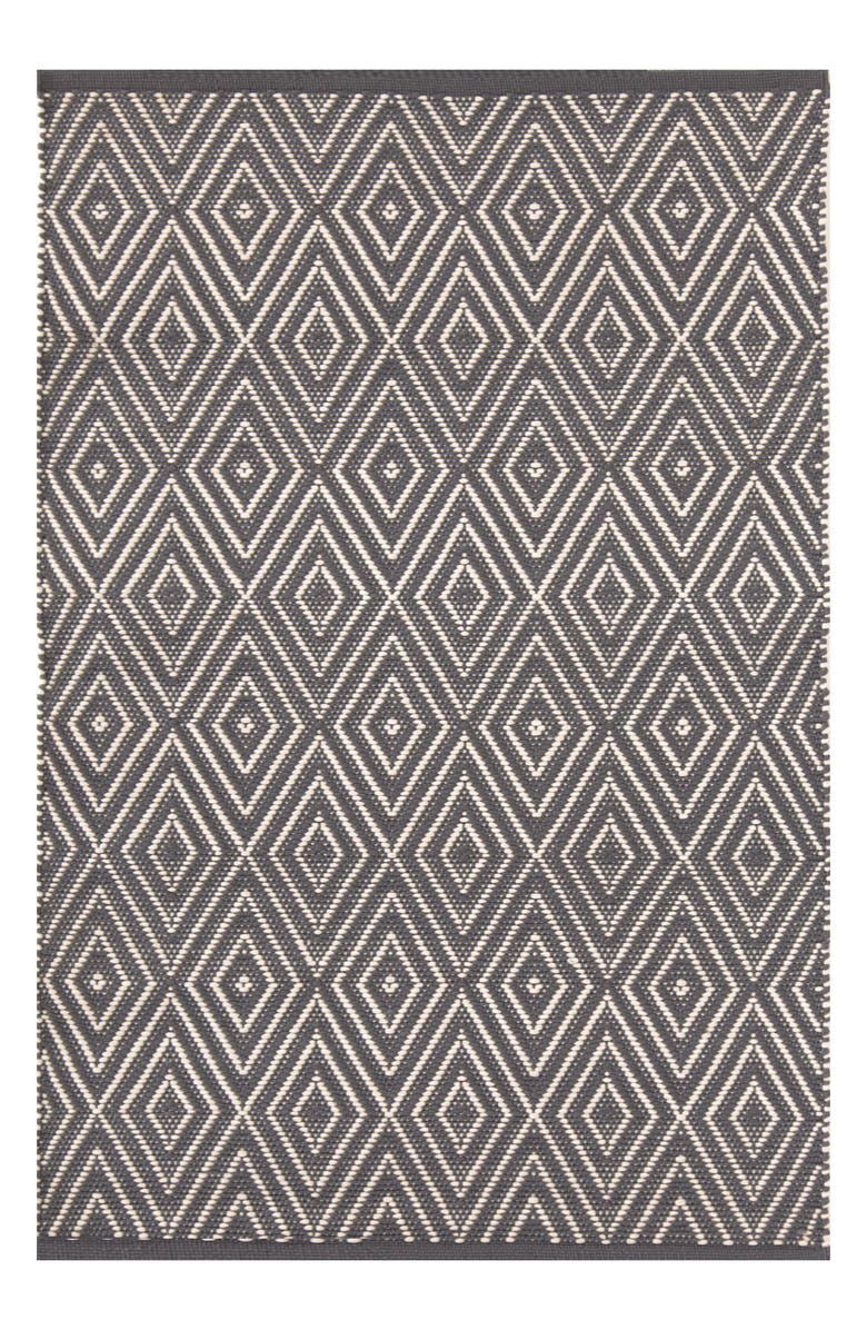 DASH & ALBERT Diamond Print Rug, Main, color, GREY