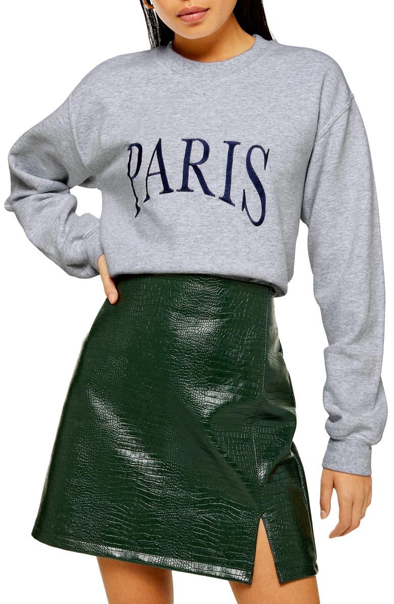 TOPSHOP Paris Embroidered Oversize Sweatshirt, Main, color, GREY MARL