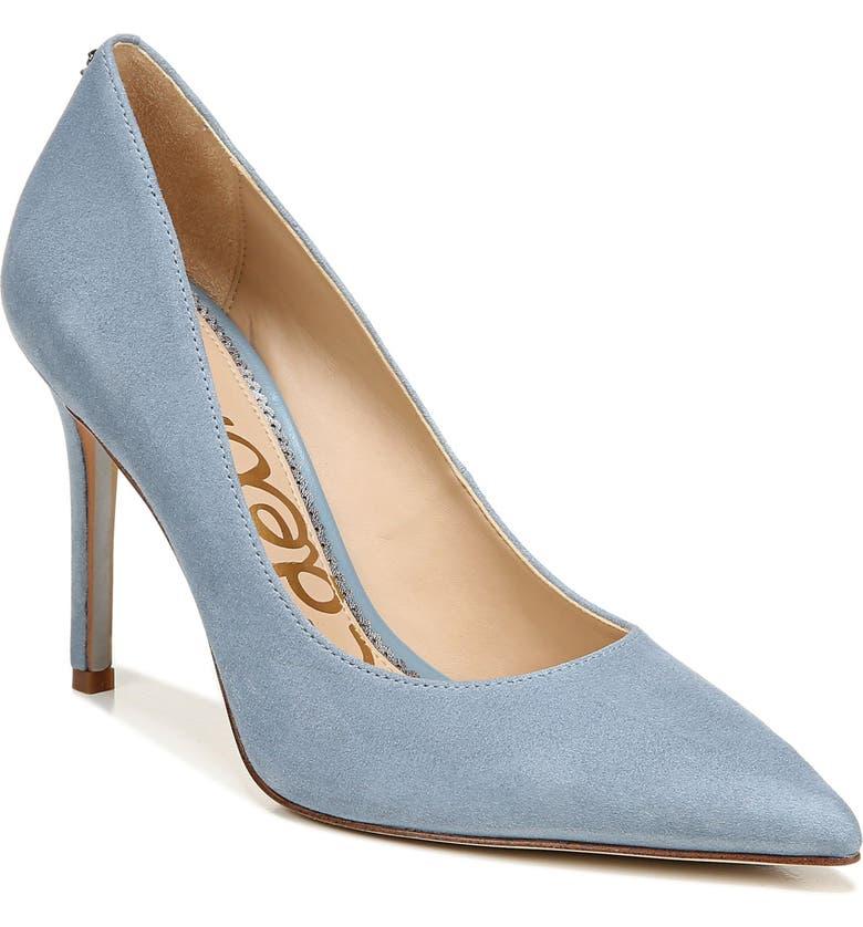 SAM EDELMAN Hazel Pointed Toe Pump, Main, color, SMOKEY BLUE SUEDE