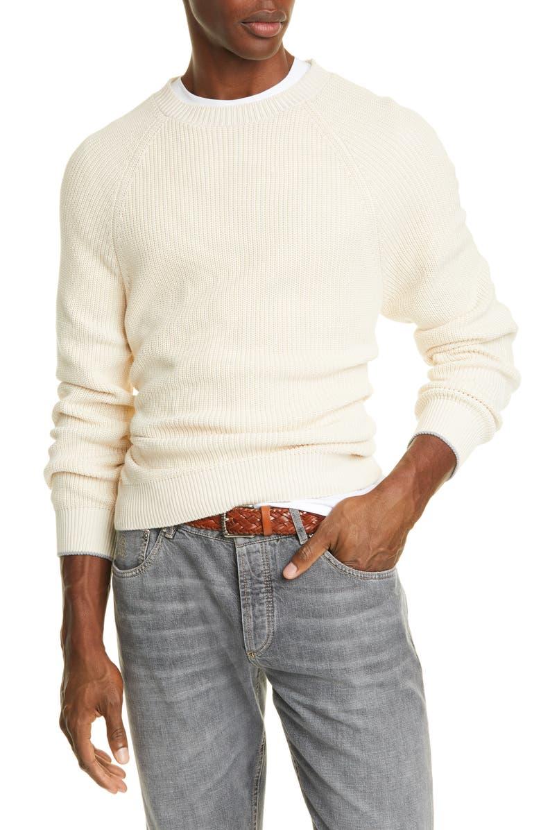 BRUNELLO CUCINELLI Cotton Raglan Crewneck Sweater, Main, color, IVORY