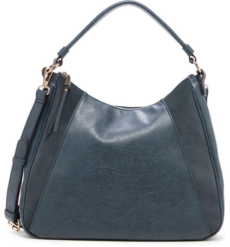SOLE SOCIETY Suede & Faux Leather Shoulder Bag, Main, color, SLATE BLUE
