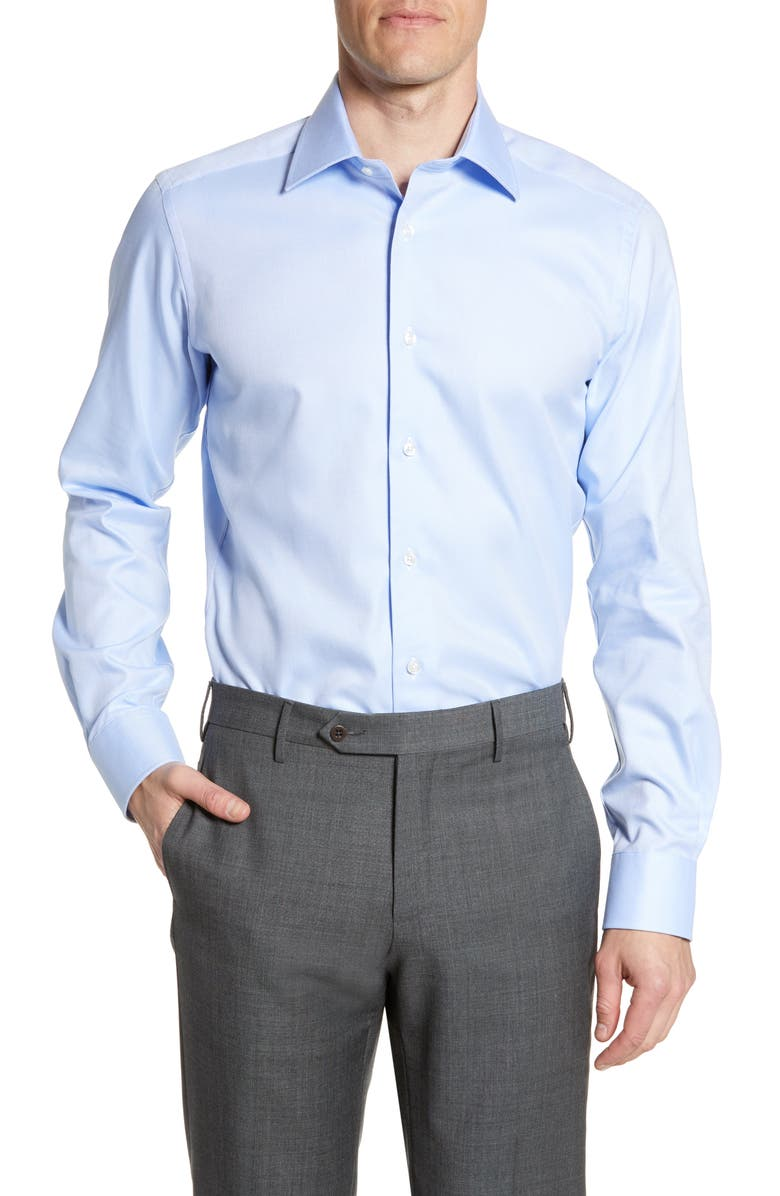 DAVID DONAHUE Trim Fit Cotton Dress Shirt, Main, color, SKY