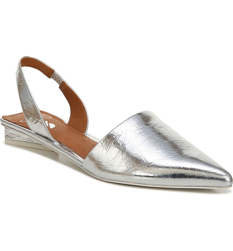 SARTO BY FRANCO SARTO Pointed Toe Slingback Flat, Main, color, SILVER LEATHER