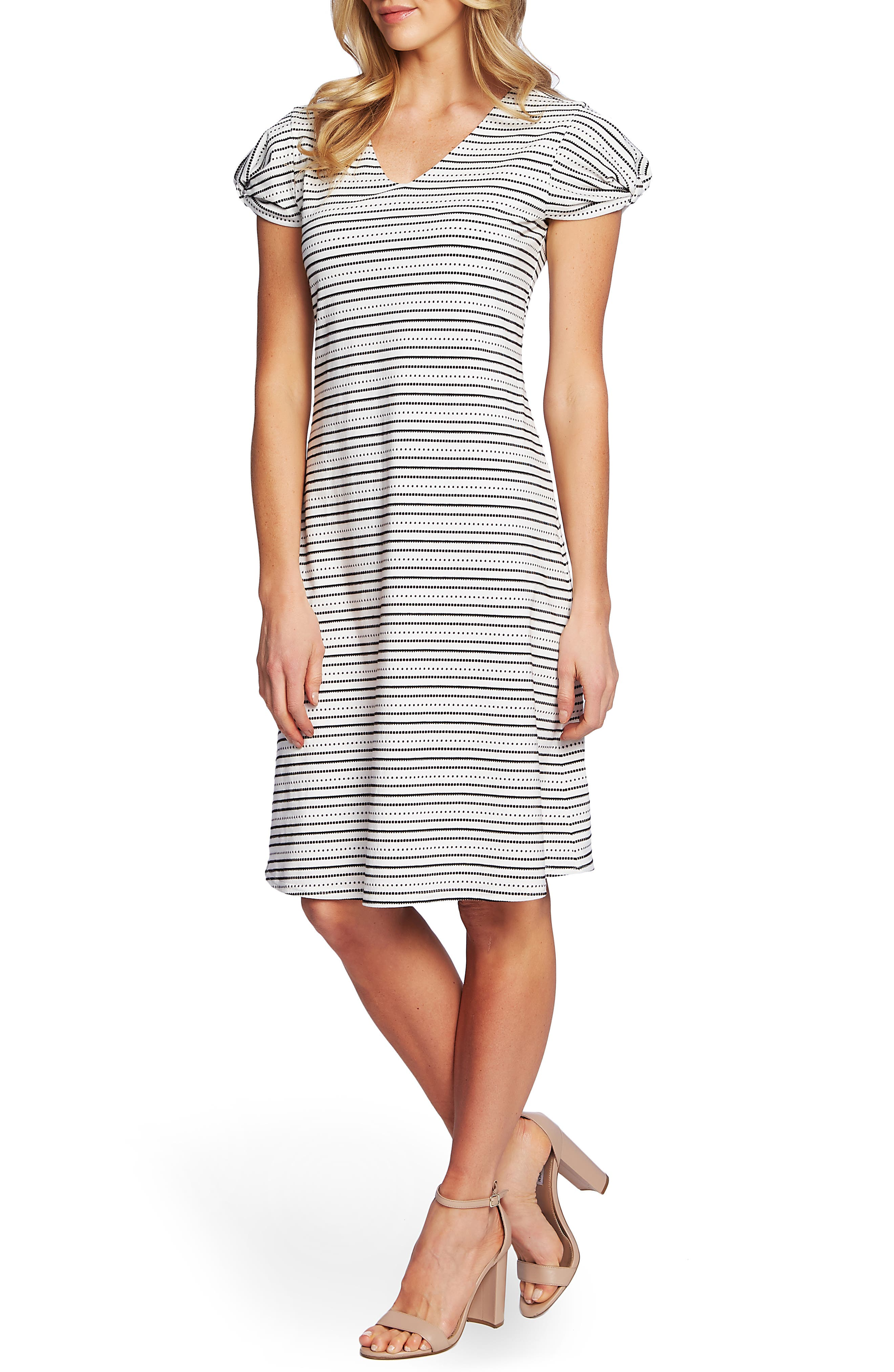 Cece Puffed Sleeve Striped Shift Dress, Ivory