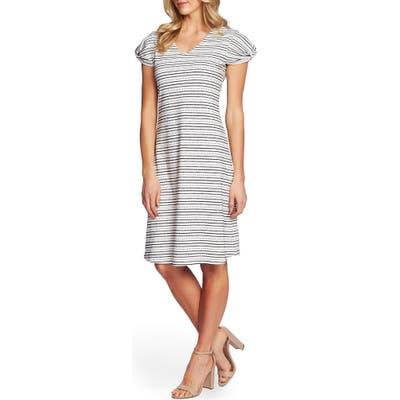 Cece Puffed Sleeve Striped Shift Dress, Ivory
