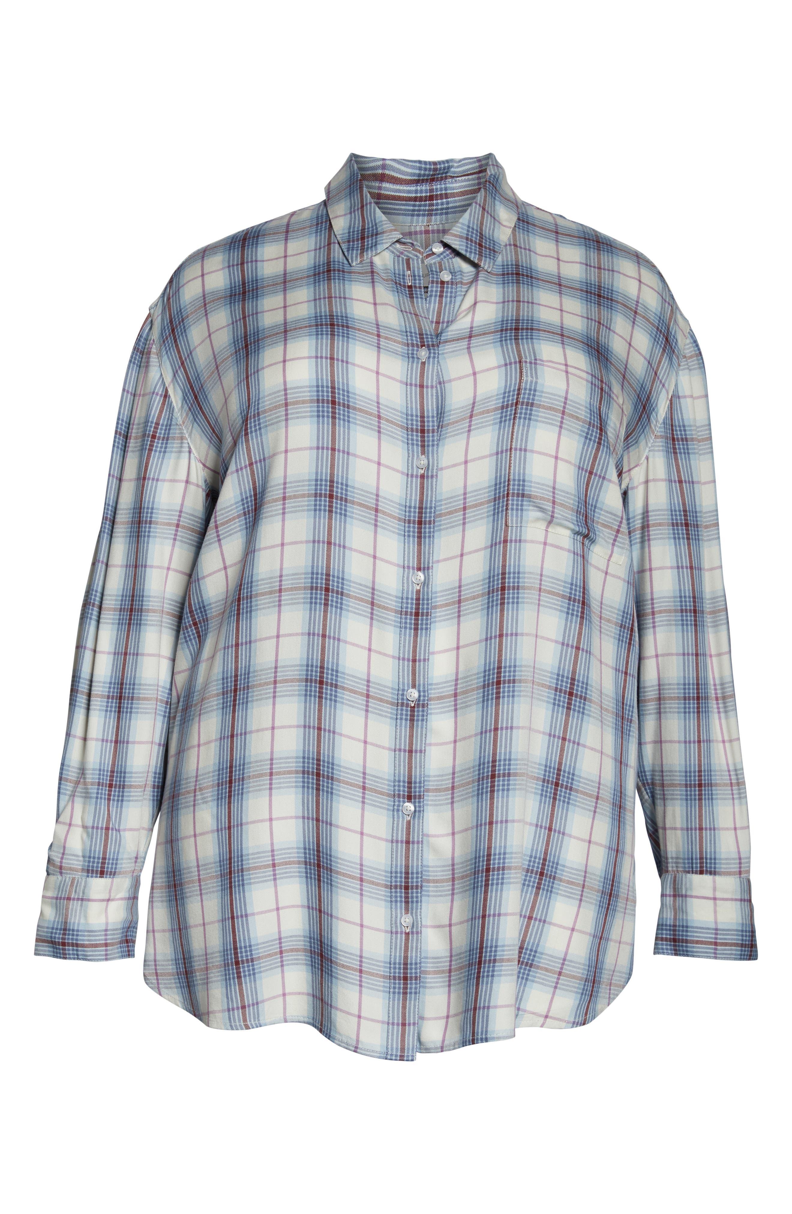 ,                             Lightweight Boyfriend Shirt,                             Alternate thumbnail 6, color,                             IVORY TARTINE PLAID