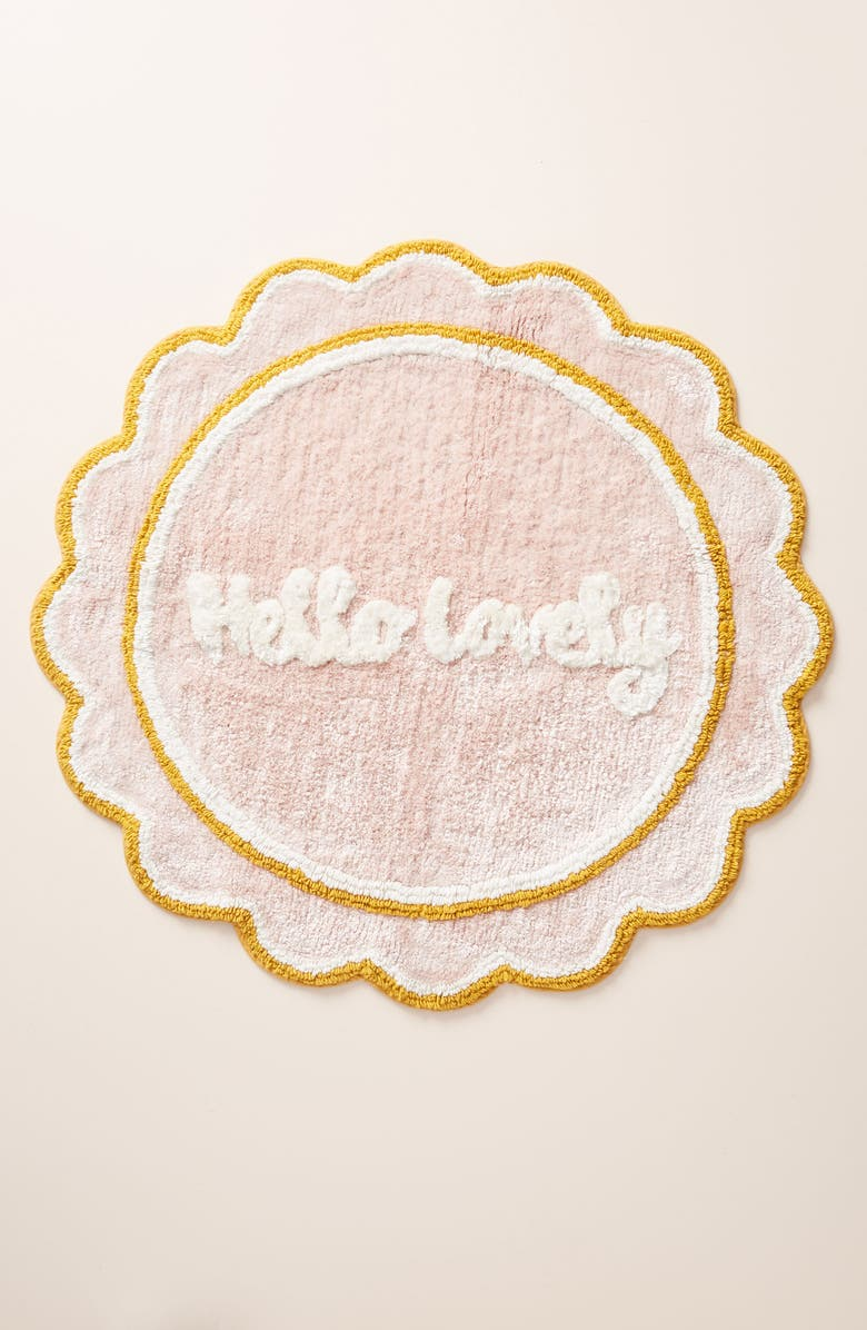 ANTHROPOLOGIE Hello Lovely Bathmat, Main, color, PINK