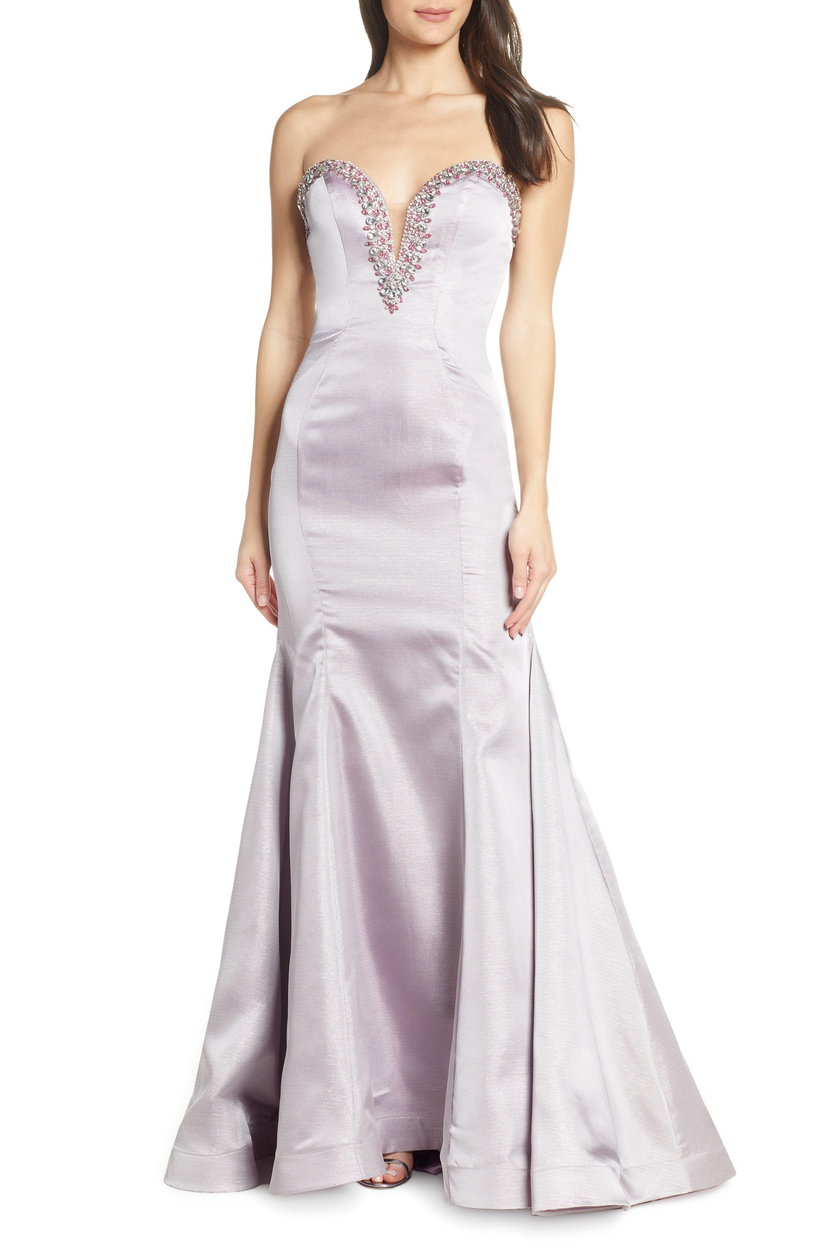 MAC Duggal Beaded Bustier Bodice Evening Dress, Purple