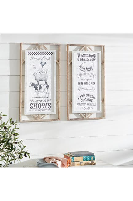 """Image of Willow Row Rectangular Black And White Farmer's Market Sign Wall Decor With Wood Framing - Set of 2: 16"""" X 30"""""""