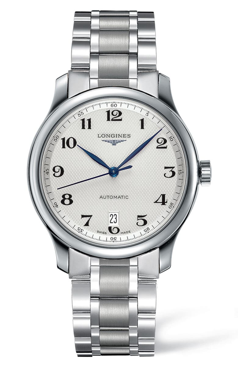 LONGINES Master Automatic Bracelet Watch, 38.5mm, Main, color, SILVER