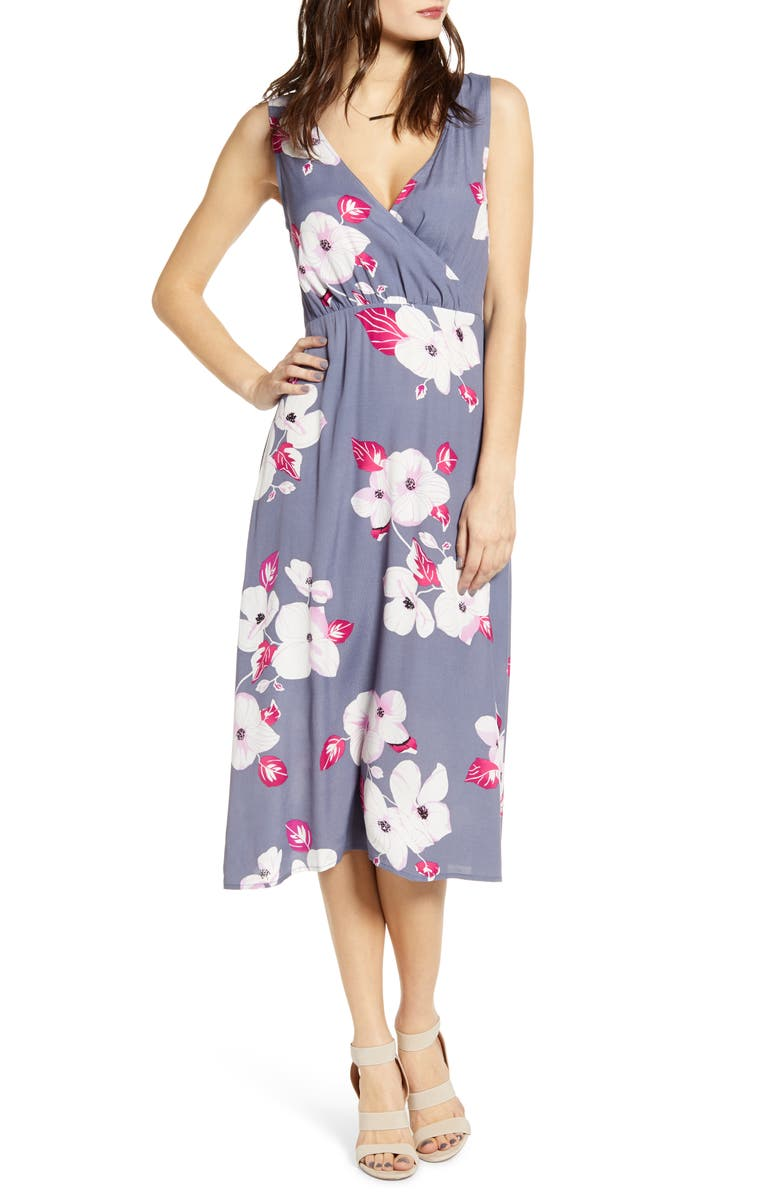 LEITH Floral Surplice Midi Sundress, Main, color, GREY GRISAILLE CHINOISERIE