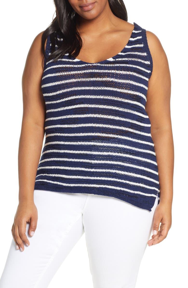 CASLON<SUP>®</SUP> Sweater Tank Top, Main, color, NAVY P- WHITE JULIA STP