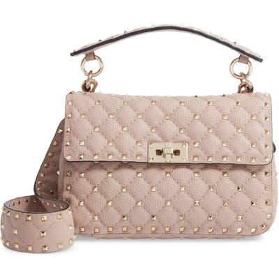 Valentino Garavanispike Up Matelasse Calfskin Leather Shoulder Bag - Beige