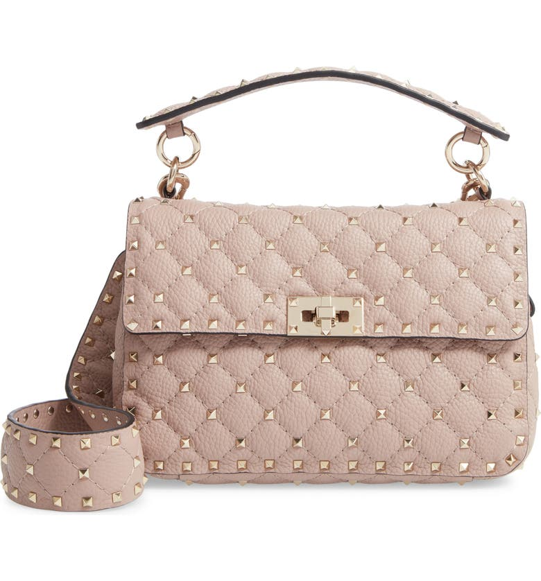 VALENTINO GARAVANI Spike Up Matelassé Calfskin Leather Shoulder Bag, Main, color, POUDRE