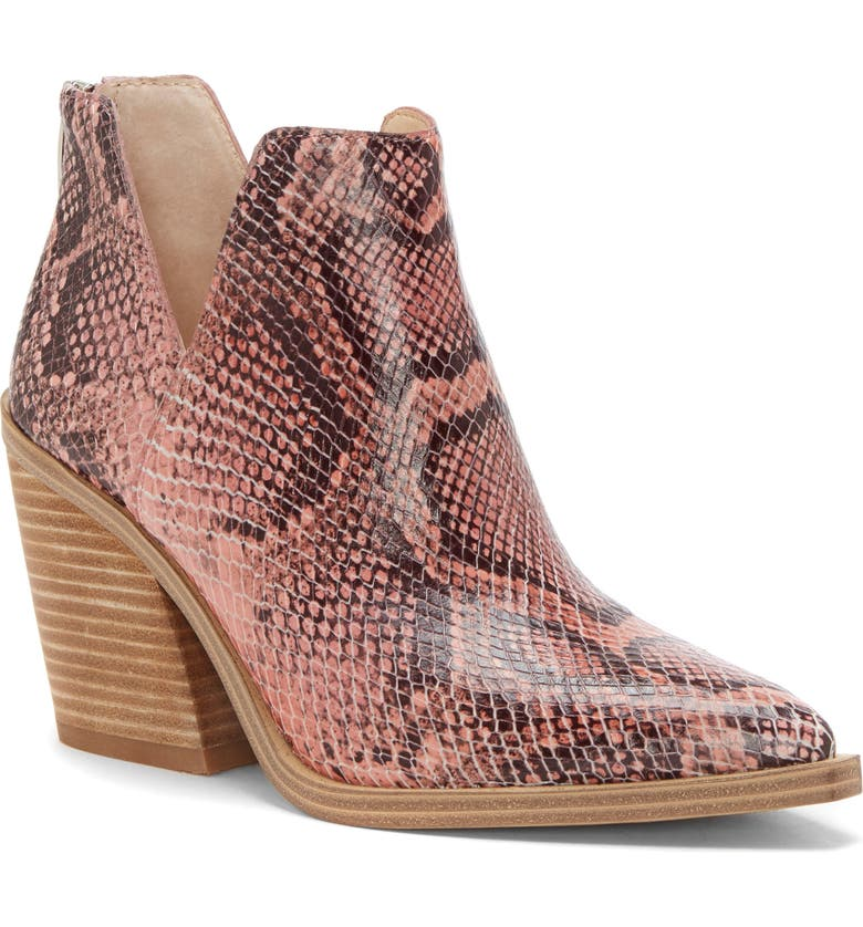 VINCE CAMUTO Gigietta Bootie, Main, color, ROSEWOOD EMBOSSED LEATHER