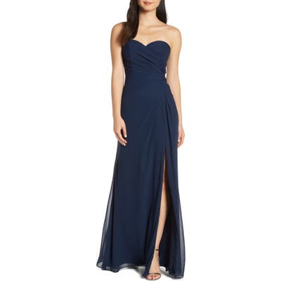 Hayley Paige Occasions Strapless Chiffon Evening Dress, Blue