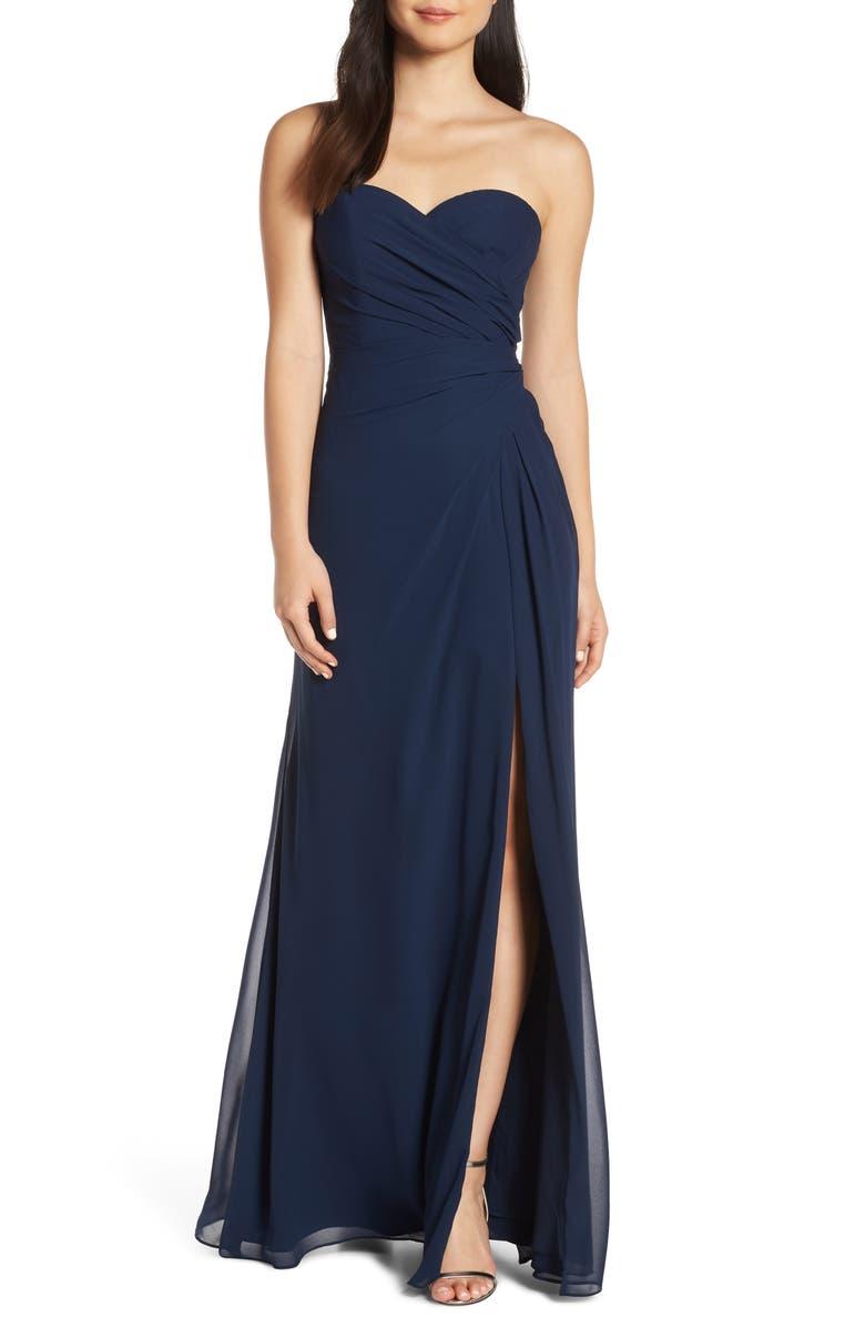 HAYLEY PAIGE OCCASIONS Strapless Chiffon Evening Dress, Main, color, INDIGO