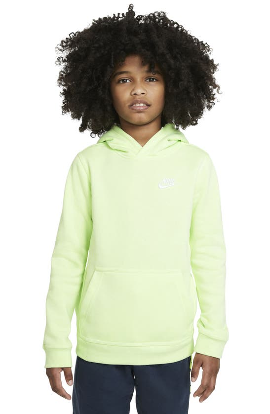 Nike Sportswear Club Big Kids' Pullover Hoodie In Light Liquid Lime/ White