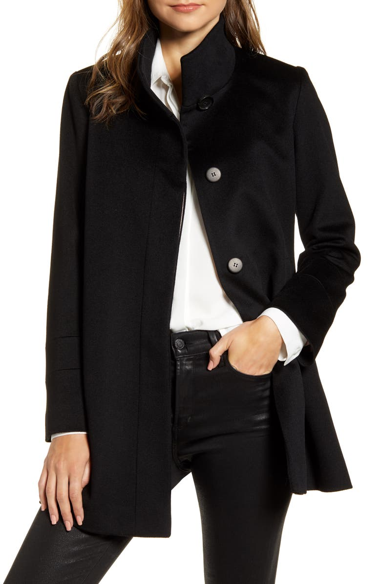 FLEURETTE Stand Collar Wool Car Coat, Main, color, BLACK