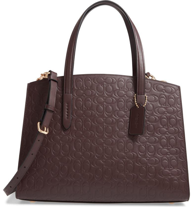 COACH Charlie Logo Embossed Leather Tote, Main, color, 930