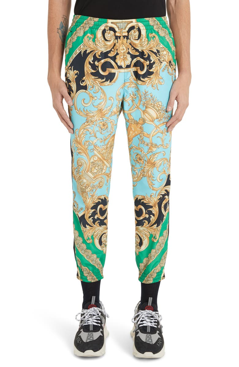 VERSACE Baroque Print Athletic Pants, Main, color, GREEN/LIGHT BLUE