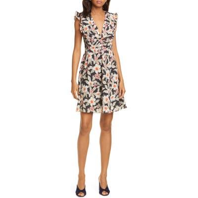 Rebecca Taylor Kamea Floral Print Fit & Flare Dress, Black