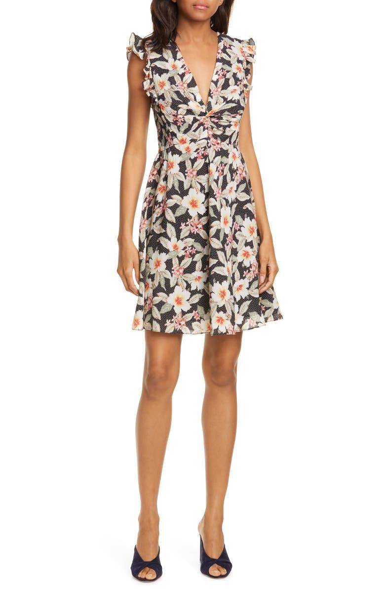 REBECCA TAYLOR Kamea Floral Print Fit & Flare Dress, Main, color, BLACK COMBO