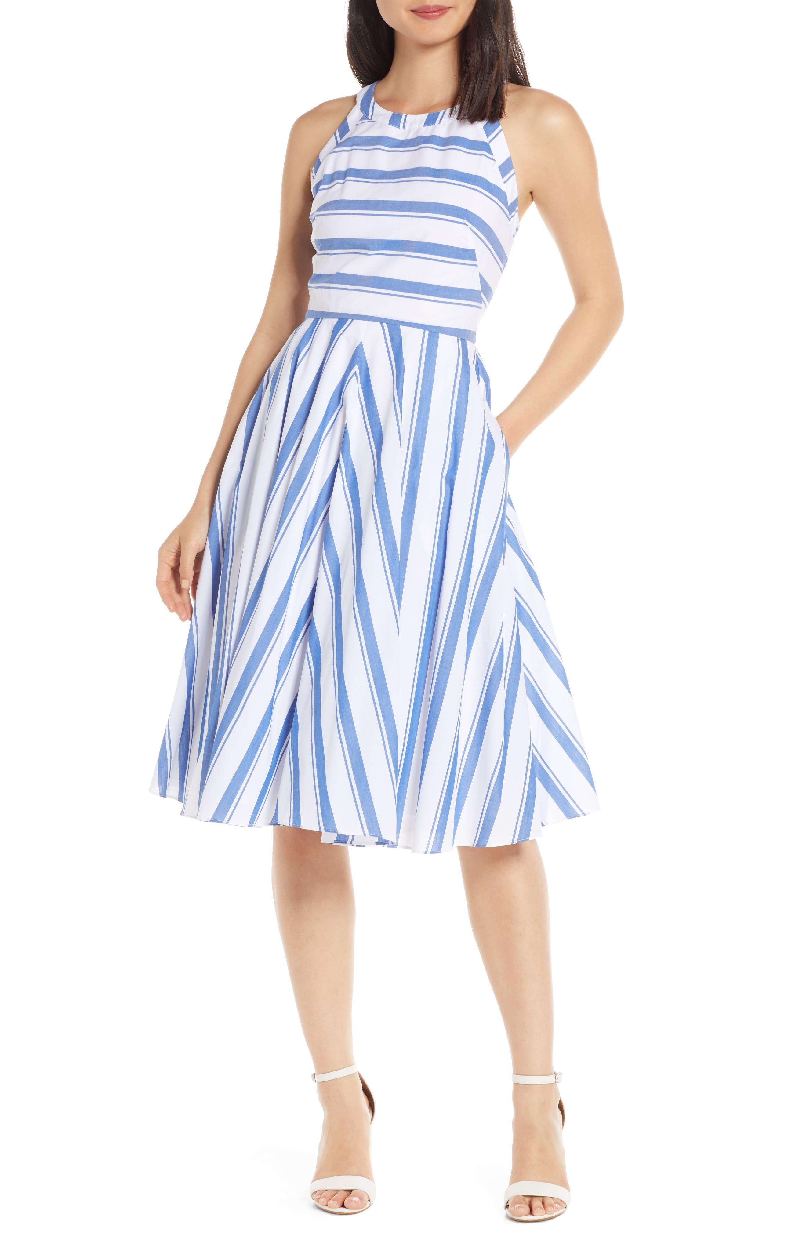 Petite Eliza J Sleeveless Fit & Flare Dress, Blue