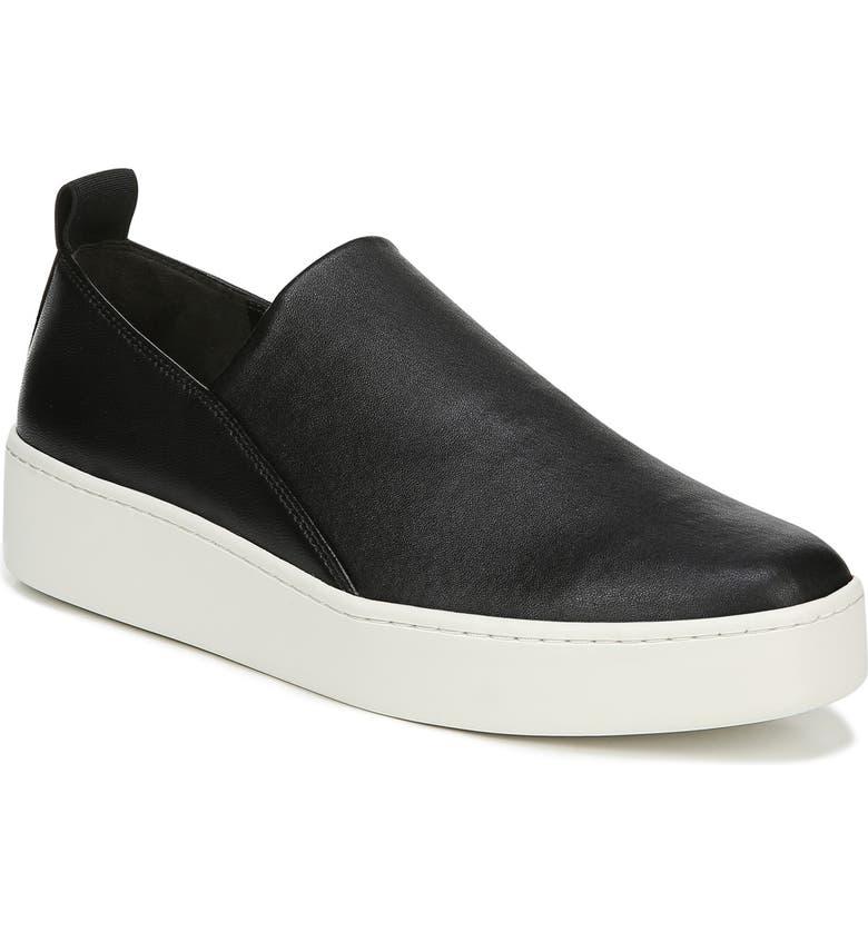 VINCE Saxon Slip-On Sneaker, Main, color, BLACK THIN STRETCH NAPPA