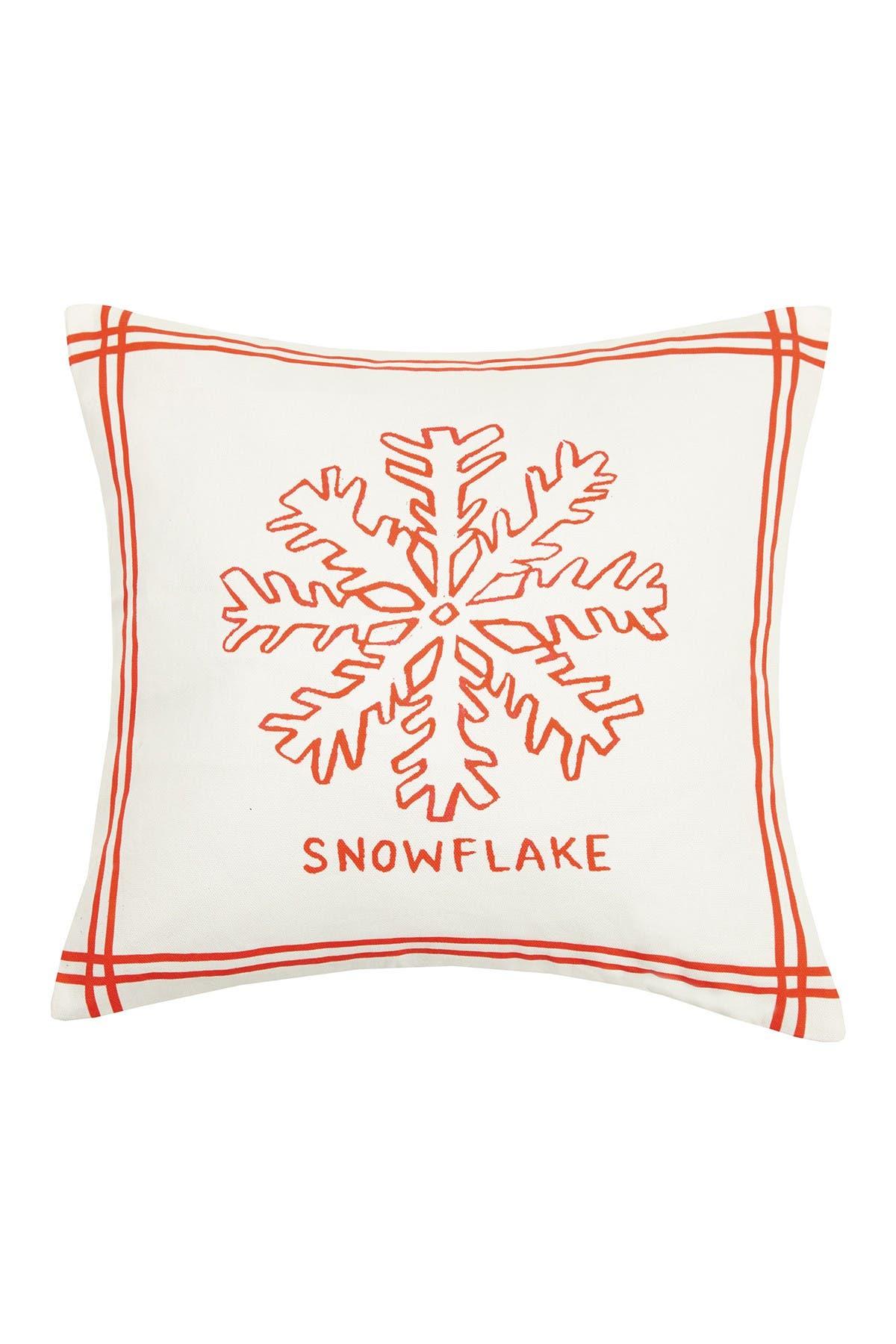 Image of Peking Handicraft Multi Snowflake & Ice Skates Reversible Pillow