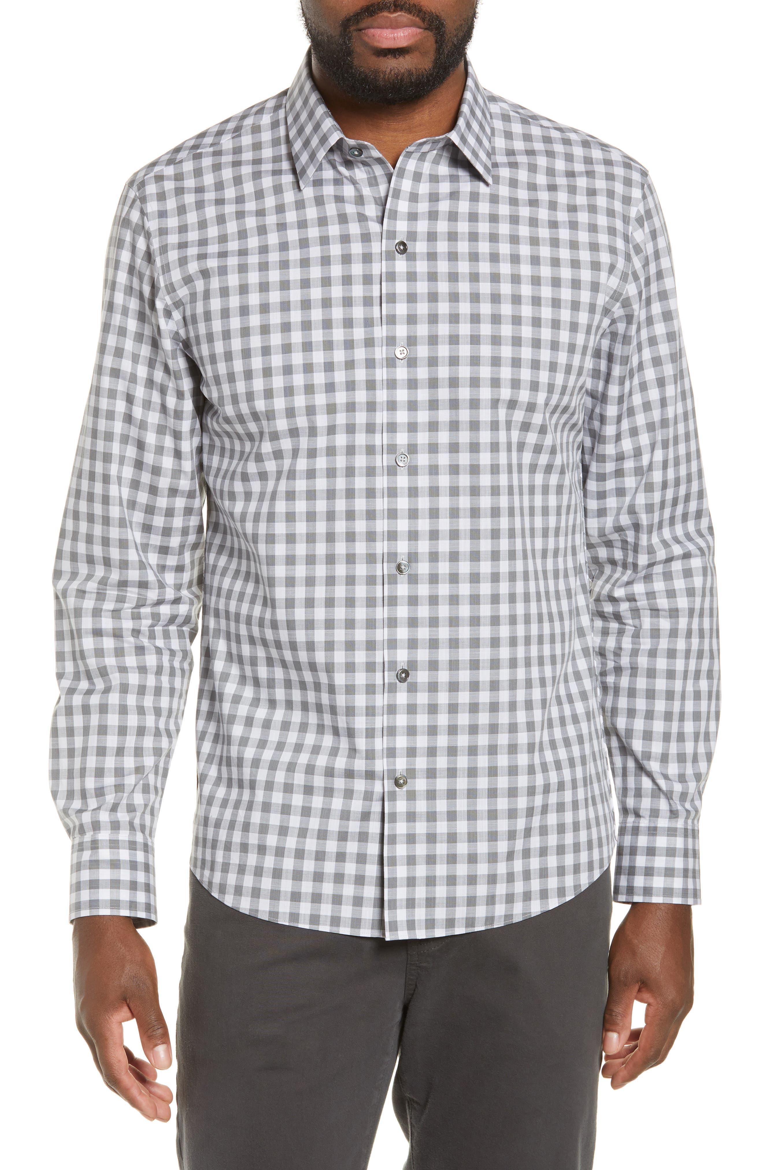 ,                             Schwantes Regular Fit Check Sport Shirt,                             Main thumbnail 1, color,                             GREY