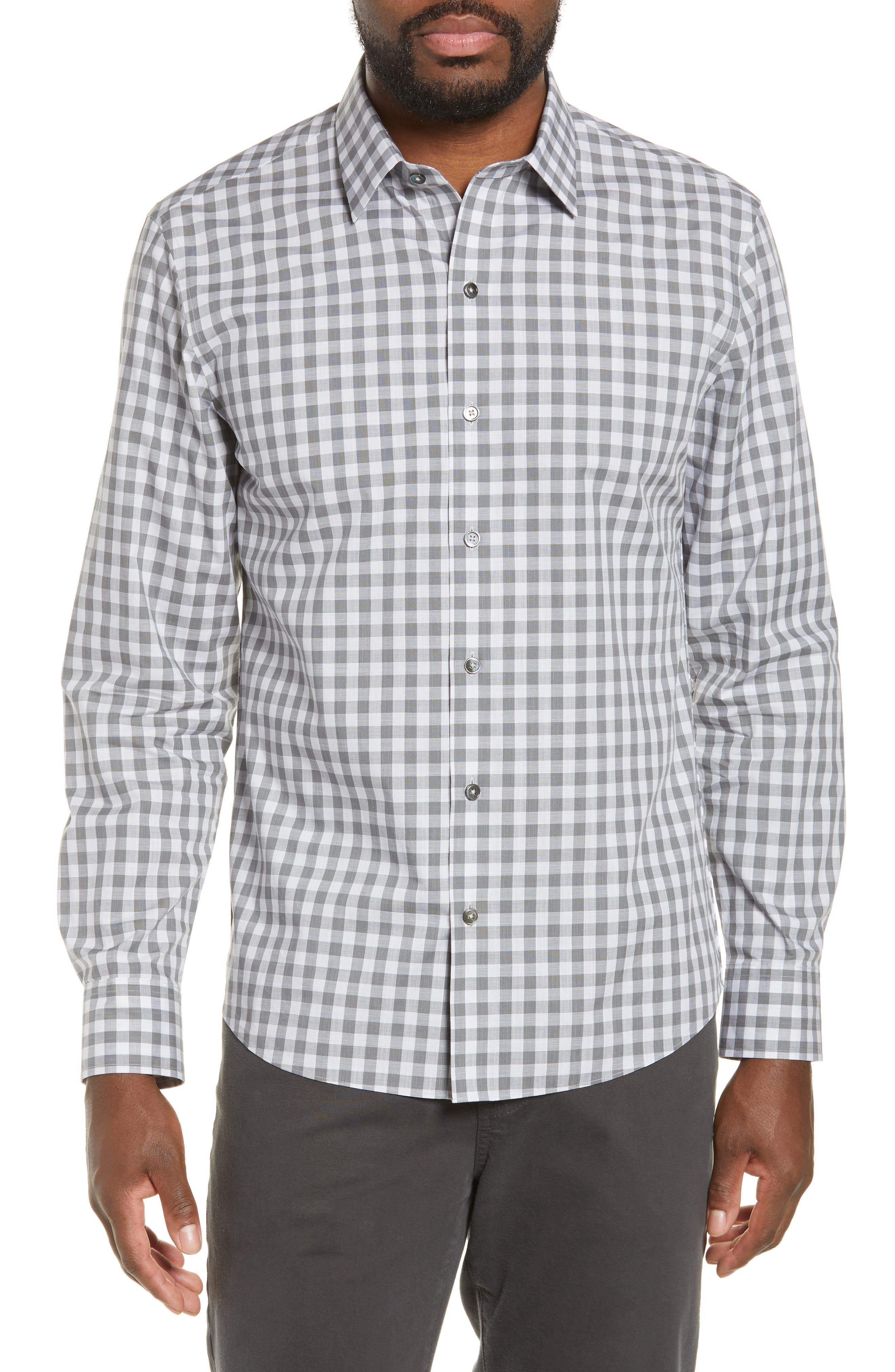 Schwantes Regular Fit Check Sport Shirt, Main, color, GREY