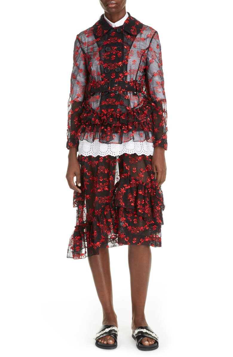 SIMONE ROCHA Delft Floral Double Breasted Tulle Jacket, Main, color, BLACK/ RED